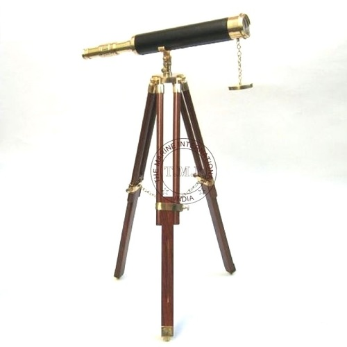 Leather Sheathed Brass Telescope With Wooden Tripod Stand