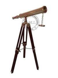 Nautical Brass Harbor Master Telescope with Wooden Stand