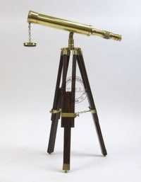Nautical Tabletop Brass Telescope With Wooden Tripod Stand