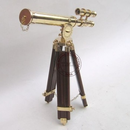 Brass Griffith Astro Telescope With Wooden Tripod Stand