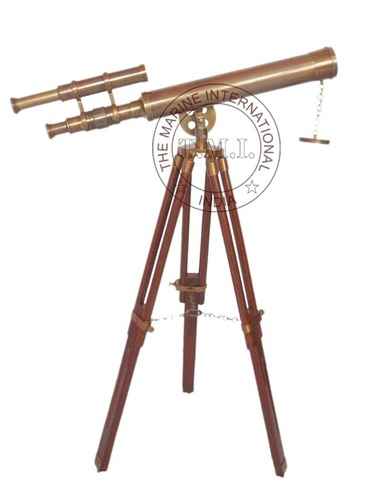 Brown Antique Brass Telescope With Wooden Stand