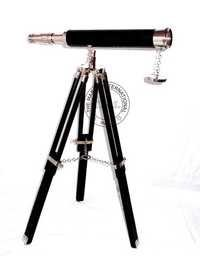 Brass Telescope On Tripod Stand WIth Black & Nickle