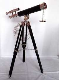 Royal Navy Brass Double Barrel Telescope With Tripod Stand