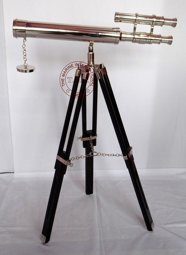 Chrome Double Barrel Telescope On Wooden Stand