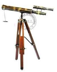 Antique Double Barrel Telescope With Tripod Stand