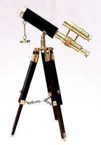 Brass Double Barrel Telescope With Stand