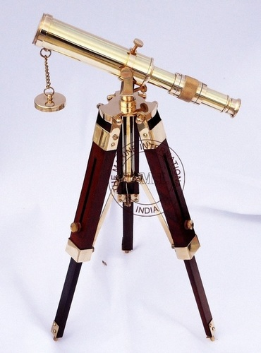 Nautical Brass Decorative Telescope With Wooden Tripod Stand