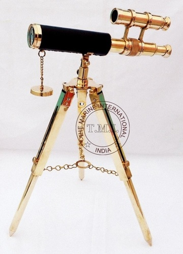 Leather Sheathed Double Barrel With Brass Tripod Stand