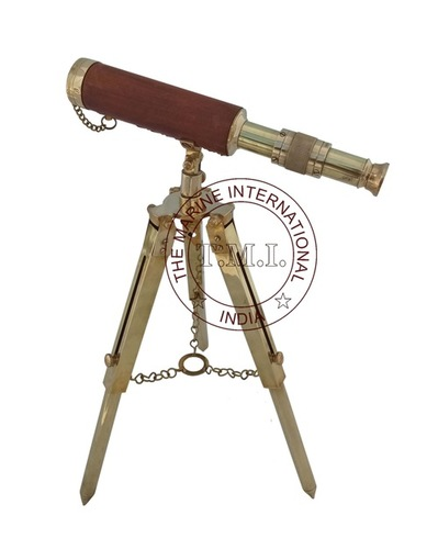 Shiny Brass Telescope Leather Sheathed With Brass Stand