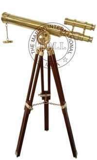 Brass Astro Double Barrel Telescope With Wooden Tripod Stand