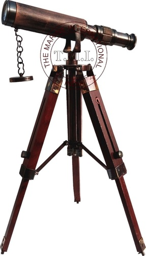 Leather Sheathed Antique Decorative Brass Telescope With Wooden Tripod Stand