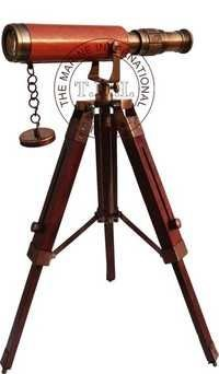 Copper Antique Decorative Telescope With Stand