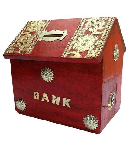 Desi Karigar Hut Shaped beautiful Red Piggy Bank