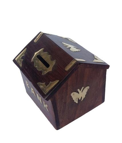 Desi Karigar Sheesham Wood Hut Shaped Money Bank