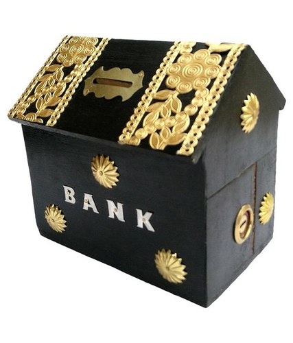 Desi Karigar Wooden Hut Shaped Black Money Bank