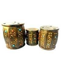 Desi Karigar Wooden Drum Shaped Carved Money Bank - Set of 3