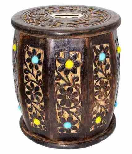 Desi Karigar Big Wooden Drum Shaped Carved Money Bank