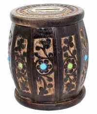 Desi Karigar Wooden Drum Shaped Carved Money Bank