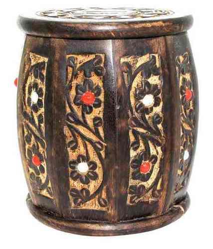 Desi Karigar Medium Wooden Drum Shaped Carved Money Bank