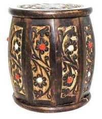 Desi Karigar Medium Wooden Drum Shaped Carved Money Bank