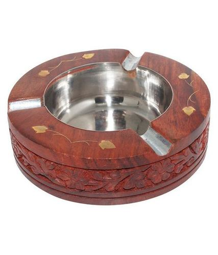 Desi Karigar Sheesham wood round carved Ash Tray