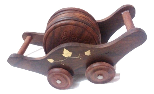 Desi Karigar Old Vintage Wooden Hand carved Brass Fitted Wooden Tea coasters on wooden cart