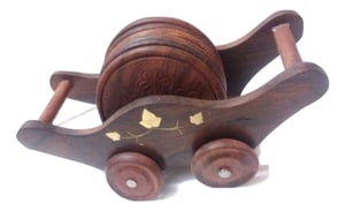 Desi Karigar Old Vintage Wooden Hand carved Brass Fitted Wooden Tea coasters on wooden cart