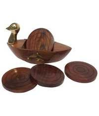 Desi Karigar Brown & Golden Wooden Duck Shape Coaster Set Of 6