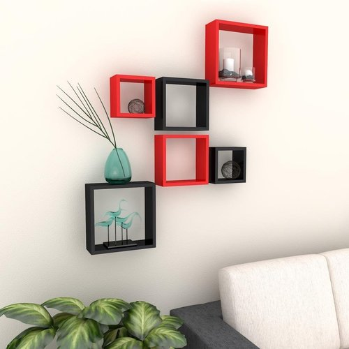 Desi Karigar Wall Mount Shelves Square Shape Set of 6 Wall Shelves - Red & Black