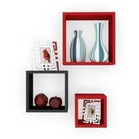 Desi Karigar Wall Mount Shelves Square Shape Set of 3 Wall Shelves Red & Black