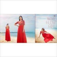 Shop Satin & Net Gown Style Kurti Online