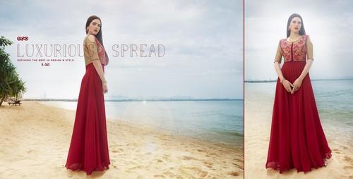 Buy Faux Georgette & Raw Silk Gown Style Kurti Online