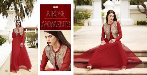 Buy Net & Silk Long Gown Style Kurti Online