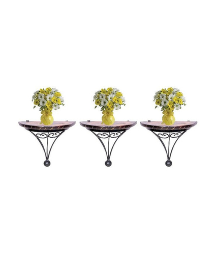 Desi Karigar Wood and Wrought Iron Fancy Wall Bracket (Set Of Three)