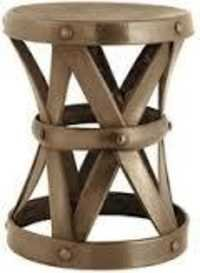 Antique Brass Stool With Hammered Effect