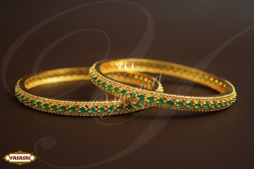stones and bangles stone set green with zircons beautiful ruby product