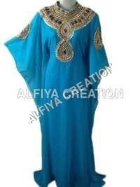 Gold embroidered stone work long length party wear kaftan farasha dress