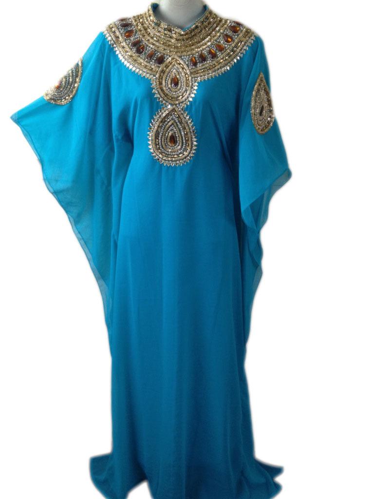 Gold embroidered stone work long length party wear kaftan farasha dress