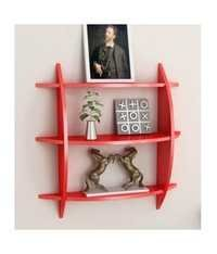 Desi Karigar Red 3 Tier Wooden Wall Shelf