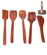 Desi Karigar Wooden Sheesham Ladel Set Of 5 + 1 Ma