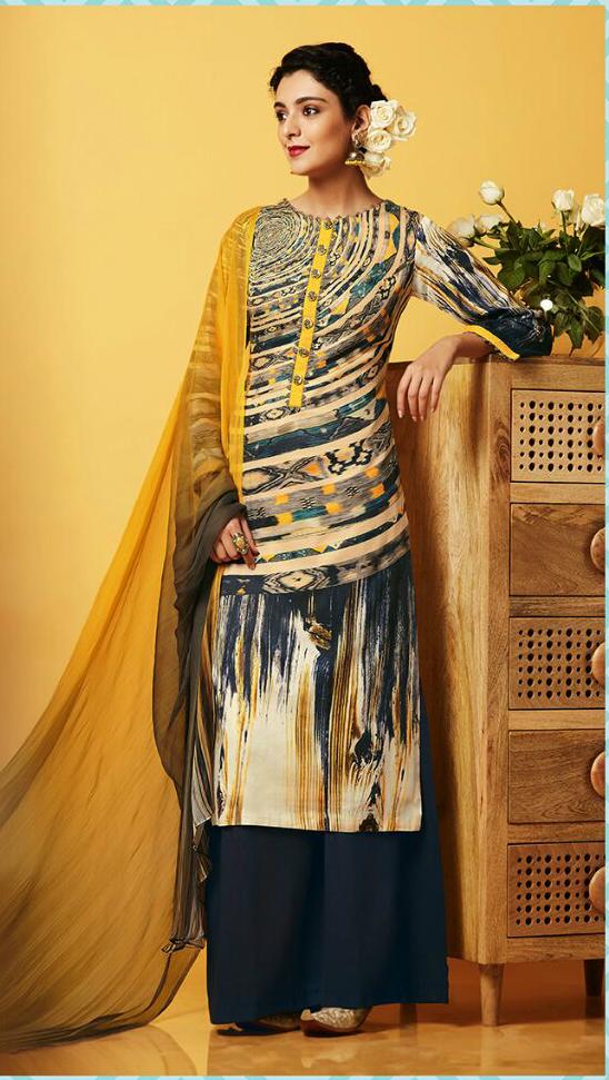 Multi Color Cotton Exclusive Plazzo Suit
