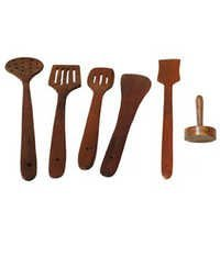 Desi Karigar wooden sheesham skimmer set of 5 + 1 masher