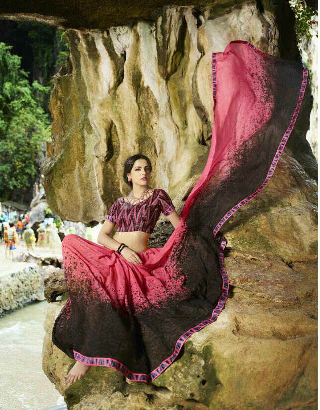 Red Georgette Exclusive Party Wear Saree