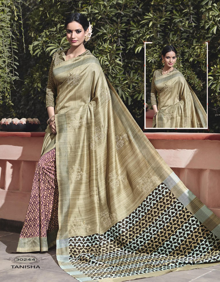 Green Jacquard Party Wear Saree