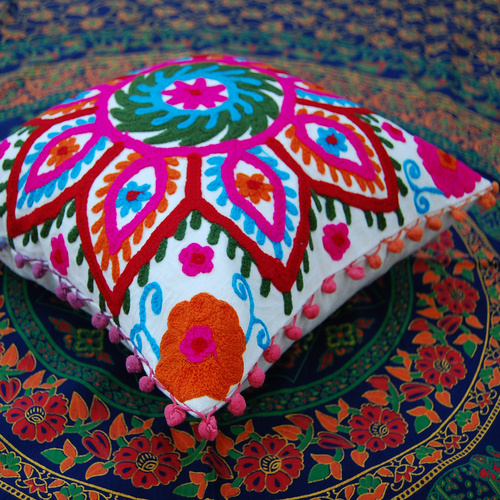 Indian suzani cushion cover throw decorative Cotton Pillow Case