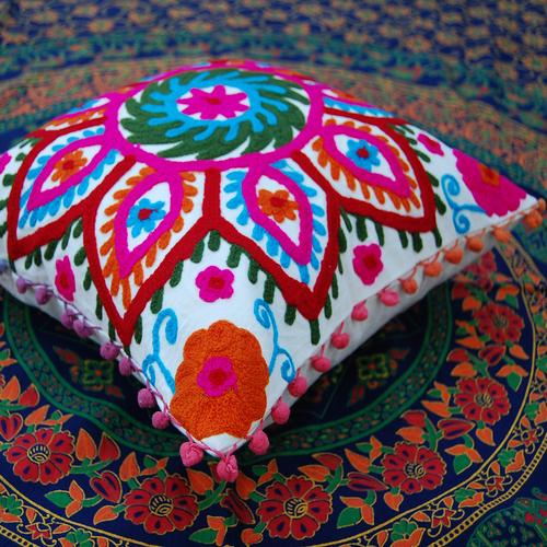 indian suzani cushion cover throw decorative Cotton Pillow Case