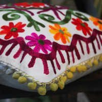indian suzani hand embroidered cushion cover decorative throw cotton pillow case 16x16''