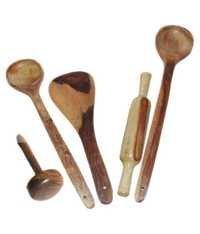 Desi Karigar Wooden 3 Ladles, 1 Masher & 1 Rolling