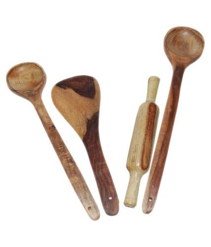 Desi Karigar Wooden 3 Ladles & 1 Rolling Pin