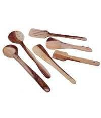 Desi Karigar Wooden Spatula And Ladle Set Pack of 6